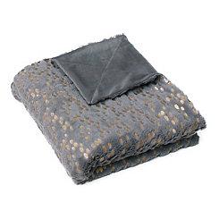 Dark Gray and Gold Dot Throw Blanket