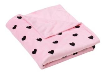 Pink Hearts Microplush Throw Blanket