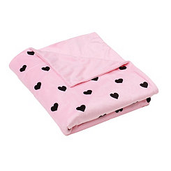 Pink Hearts Microplush Throw Blanket