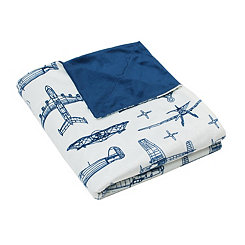 Airplane Blueprint Microplush Throw Blanket