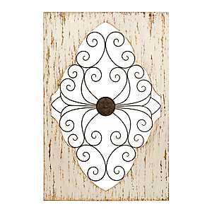 Distressed White Scroll Cutout Wall Plaque