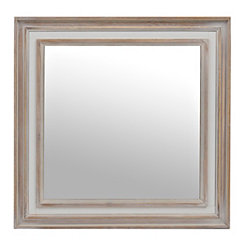 Rustic Wood with White Framed Mirror