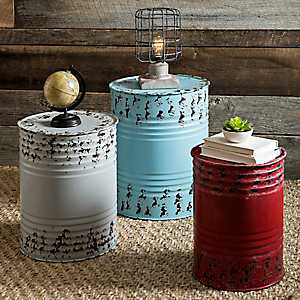 Metal Drum Accent Tables, Set of 3