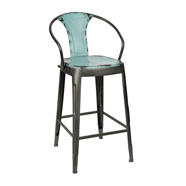distressed blue industrial metal bar stool