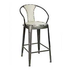 Distressed Ivory Industrial Metal Bar Stool