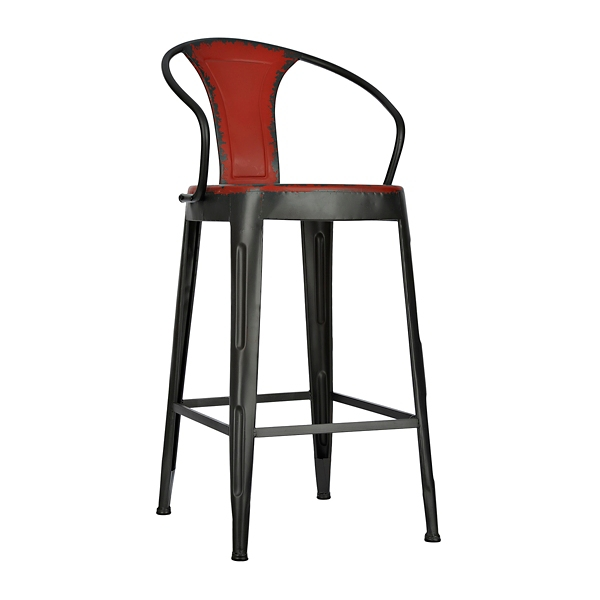distressed red industrial metal bar stool
