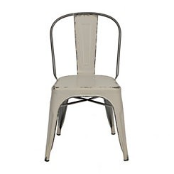 Distressed Ivory Metal Chair