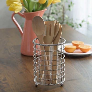 antique white metal utensil holder. Interior Design Ideas. Home Design Ideas