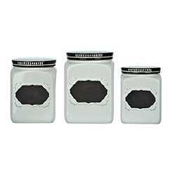 Antiqued Chalkboard Kitchen Canisters, Set of 3