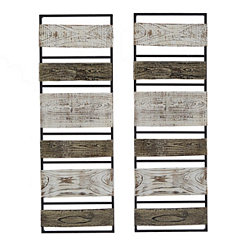 Canyon Natural Wood Panel Plaques, Set of 2