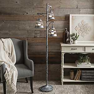 Triple Galvanized Metal Floor Lamp