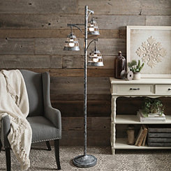 Triple Galvanized Metal Floor Lamp