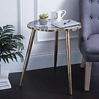 Gold Agate Wooden Accent Table