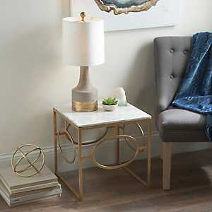 Geometric Gold and Marble Accent Table