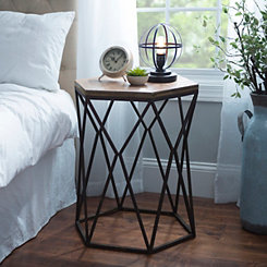 Geometric Industrial Accent Table