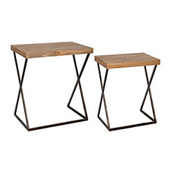 Industrial Metal and Wood Accent Tables, Set of 2