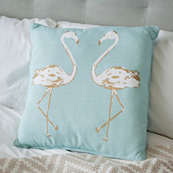 Blue and Gold Flamingo Pillow