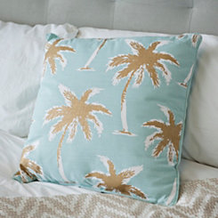 Blue and Gold Palm Tree Pillow