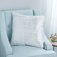 Xenia Silver and White Cross Stitch Pillow