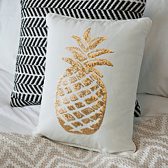 Gold Sequin Pineapple Pillow