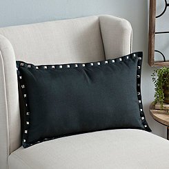 Eli Black Nailhead Accent Pillow