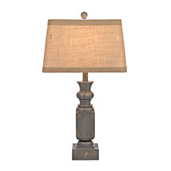 Antique Distressed Gray Table Lamp