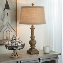 Woodgrain Table Lamp