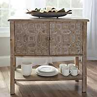 Evelyn 2-Door Natural Studded Cabinet
