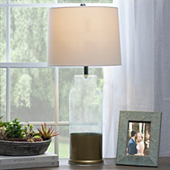 Gold Dipped Aqua Glass Table Lamp