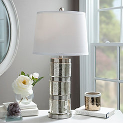 Silver Stacked Mercury Glass Table Lamp