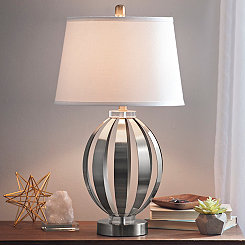 Silver Metal and Crystal Sphere Table Lamp