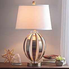 Gold Metal and Crystal Sphere Table Lamp