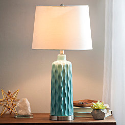 Ceramic Blue Thumbprint Table Lamp