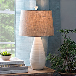 Cream Ceramic Teardrop Table Lamp