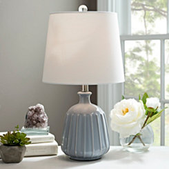 Gray Ceramic Ridged Table Lamp