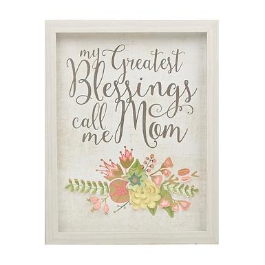 call me mom flowers framed art print