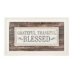 Grateful Thankful Blessed Framed Art Print