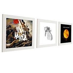 White Vinyl Record Frames, Set of 3
