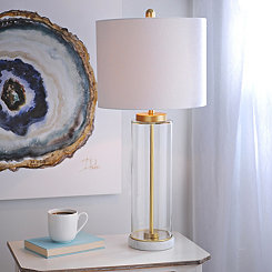 Clear Glass Marble Base Table Lamp