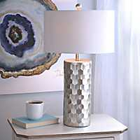 Hexagon Metallic Silver Table Lamp