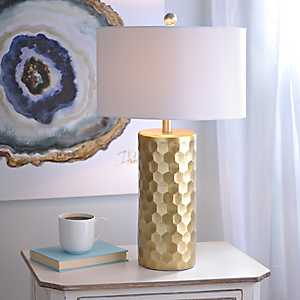 Hexagon Metallic Gold Table Lamp