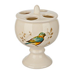 Painted Birds Toothbrush Holder