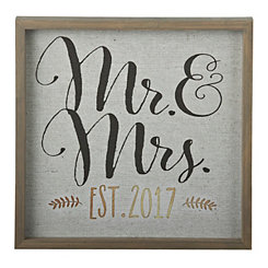 Mr. & Mrs. Established 2017 Wall Plaque