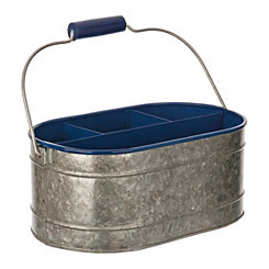 Blue Enamel And Galvanized Metal Decorative Caddy
