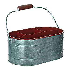 Red Enamel And Galvanized Metal Decorative Caddy
