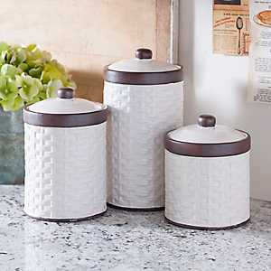 Cream Woven Kitchen Canisters, Set of 3