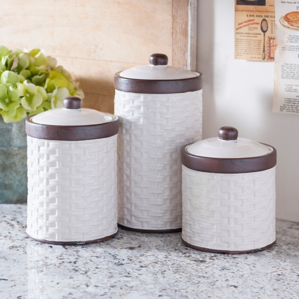 Captivating Cream Woven Kitchen Canisters, Set Of 3