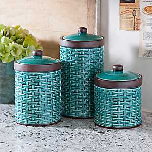Blue Woven Kitchen Canisters, Set of 3