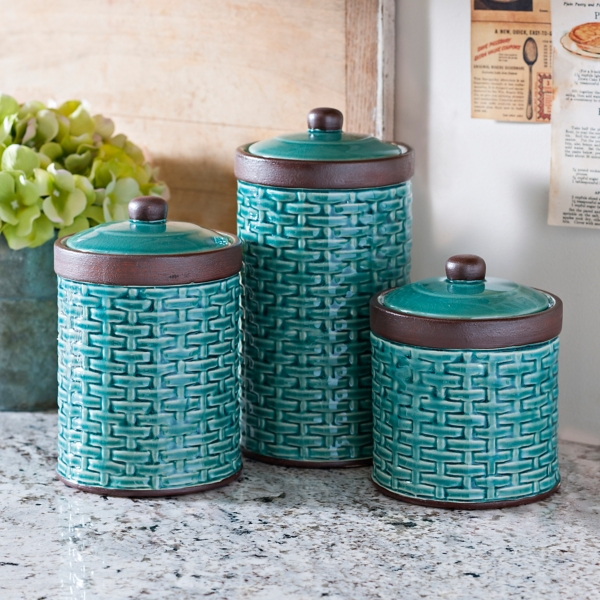 Great Blue Woven Kitchen Canisters, Set Of 3