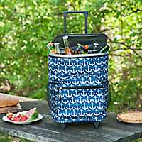 White Anchors Nautical Rolling Cooler